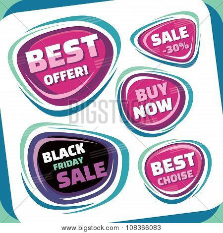 Sale - vector badges collection. Abstract sale badges set. Black Friday abstract badge.