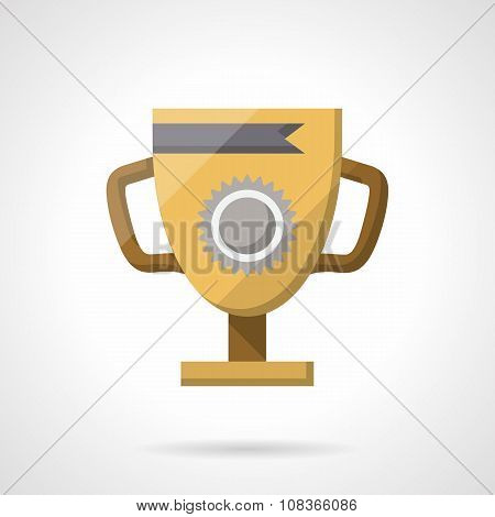Golden winner cup flat color vector icon