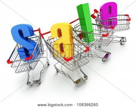 Sale concept. Shopping carts with text isolated on white. 3d