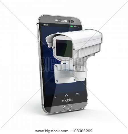 Mobile phone with CCTV camera. Security or privacy concept. 3d