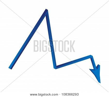 Decrease Arrow Symbol, Blue Icon Business Concept. Vector Illustration Isolated On White Background.