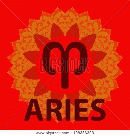 Aries. Ram. Zodiac icon with mandala print. Vector icon.