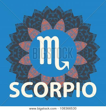Scorpio. Scorpion. Zodiac icon with mandala print. Vector icon.