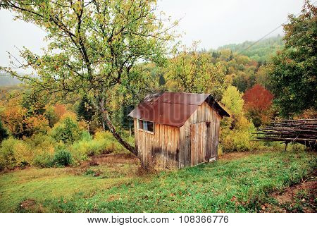 Small Hut Of A Shepherd On A Green Hillside