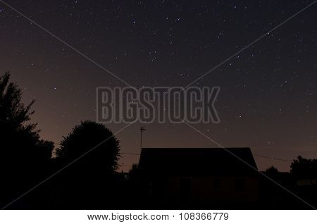 Silhouettes in a dark sky with stars