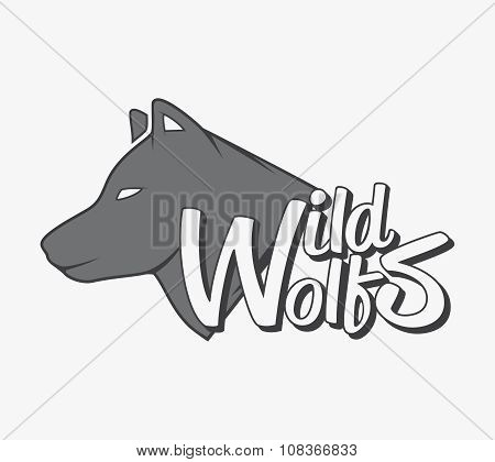 Wild wolf with grey wolf silhouette. Vector typography concept