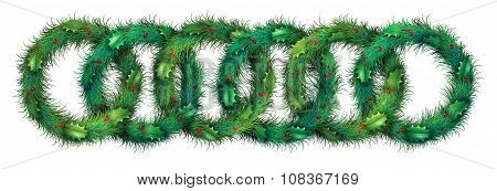 Holiday Wreath Border Pattern
