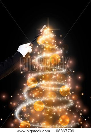 Magic wand and glittering Christmas tree, Christmas background