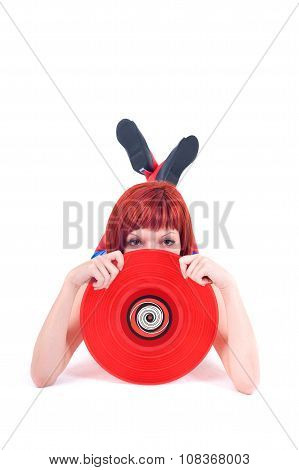 Disco Girl with Vinyl Record