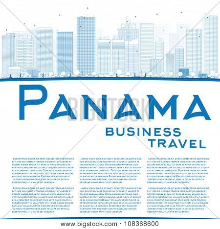 Outline Panama City skyline with blue skyscrapers and copy space. Business travel and tourism concept with place for text. Image for presentation, banner, placard and web site.