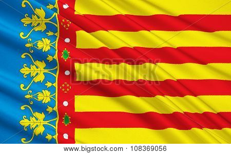 The Flag Of The Valencian Community, Spain