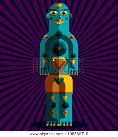 Graphic Vector Illustration, Anthropomorphic Character Isolated On Artistic Background, Decorative M
