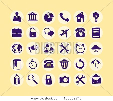 Hand drawn Business Icon set for web and mobile. Modern minimalistic flat design elements of office supplies, business conceptions, work tools