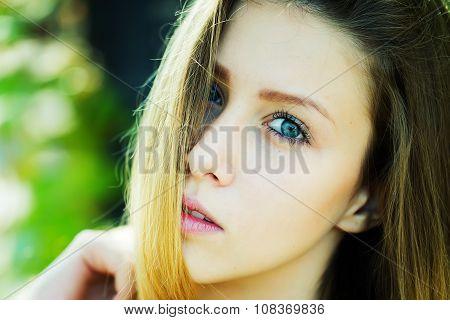 Portrait Half Left Of Girl