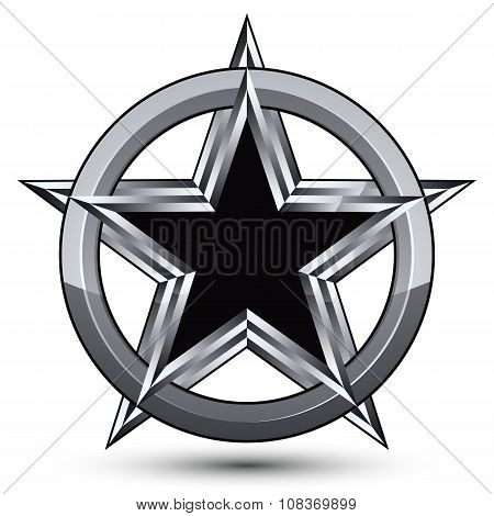Gstrsr5_097Branded Silvery Rounded Geometric Symbol, Stylized Pentagonal Black Star Placed In A Silv