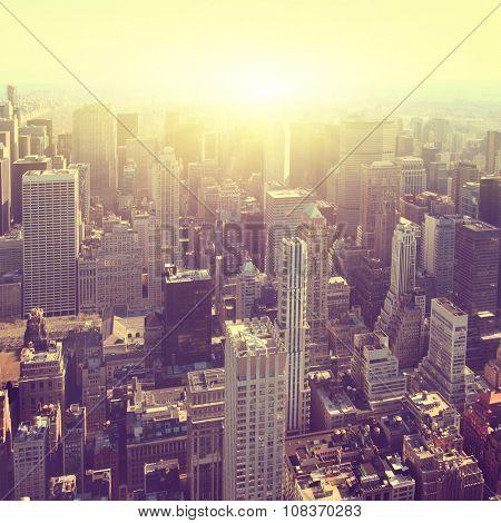 Aerial view of New York City Manhattan  at sunset.