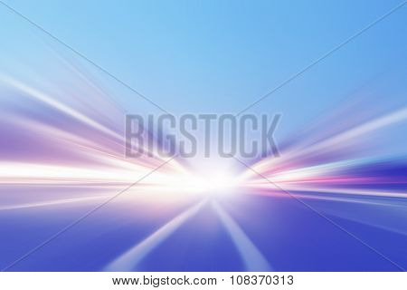 Abstract image of speed motion on the road in the city.