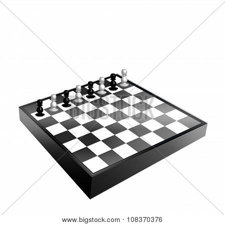 Black And White Chessboard And Pawns