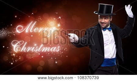 magician with a Christmas magic, trick for Merry Christmas