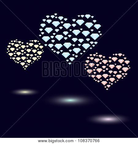 Colored Hearts Made Of Small   Crystals Of  Bright Colors