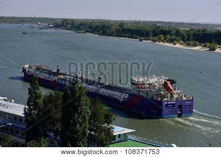 ROSTOV-ON-DON, RUSSIA - SEPTEMBER 28, 2015: Cargo ship go up the river Don. Port Rostov-on-Don is the largest transit point in the South of Russia