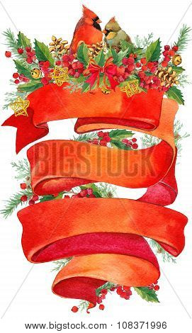Watercolor Christmas wreath on white background with Ribbon for text.  Christmas background. Ribbon