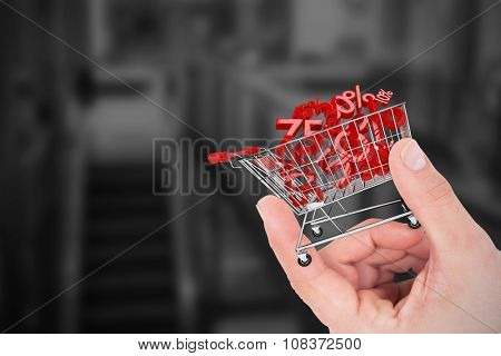 Hand showing house against online shopping concept