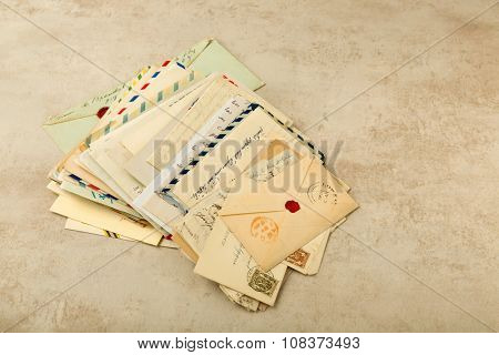 Old envelopes and letters stacked in a bundle