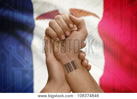 Barcode Id Number On Wrist Of Dark Skinned Person And Usa States Flags On Background - Iowa