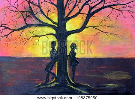 The guy and the girl on the different parties of a tree. The landscape at sunset drawn with pencils on black paper.