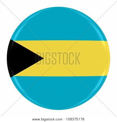 Bahamian Flag Badge - Flag Of The Bahamas Button Isolated On White