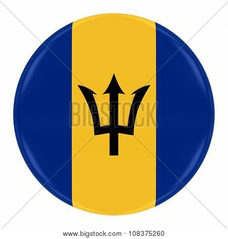 Barbadian Flag Badge - Flag Of Barbados Button Isolated On White