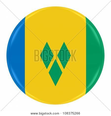 Saint Vincentian Flag Badge - Flag Of Saint Vincent And The Grenadines Button Isolated On White