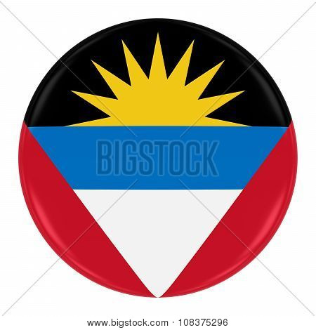 Antiguan And Barbudan Flag Badge - Flag Of Antigua And Barbuda Button Isolated On White