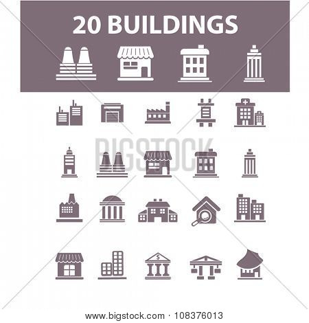 buildings, houses  icons, signs vector concept set for infographics, mobile, website, application