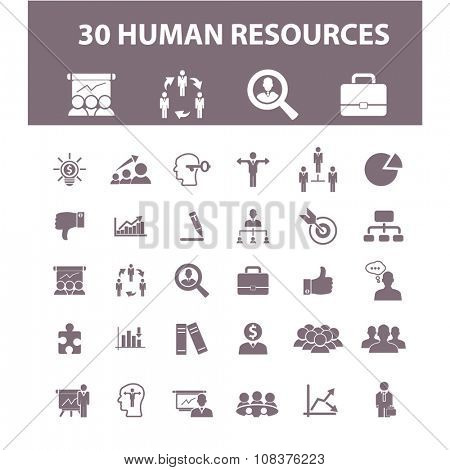human resources, organization, businessman, management  icons, signs vector concept set for infographics, mobile, website, application