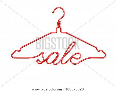 Red wire clothes hangers with message - SALE. 3D render