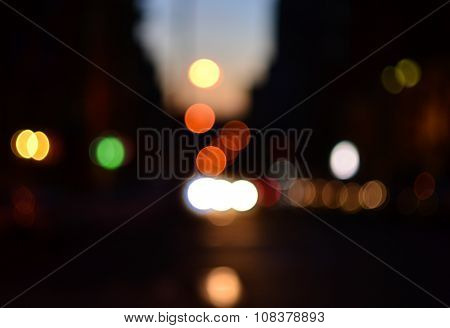 Evening Street Defocused Cars Lights Background