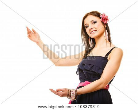 Beautiful Girl In Summer Style Showing Copy Space
