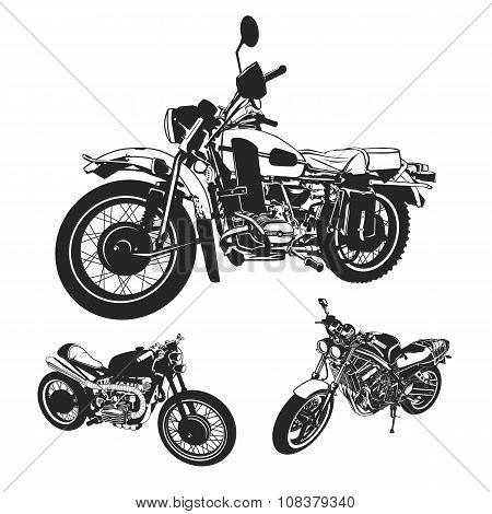 Motorcycle vector Set