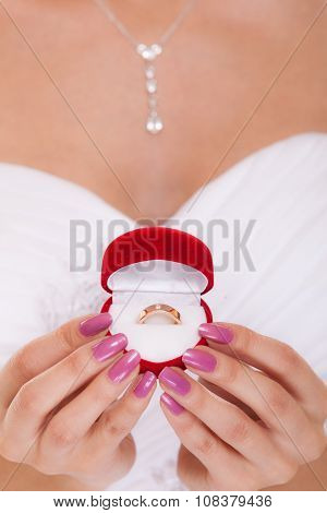Engagement Ring Box In Woman Bride Hands.