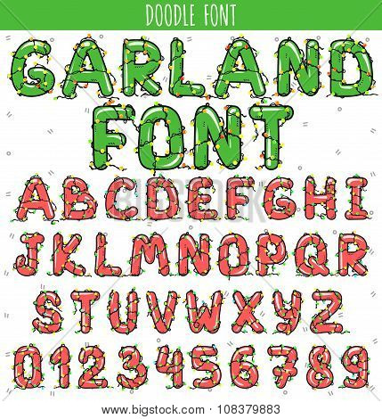 Garland font. New Year and Christmas Alphabet decorated with garland