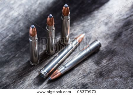 Cartridges silver with copper large-caliber bullets