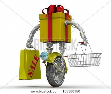 Gift box in the form of a robot on the wheel with food basket and shopping bags