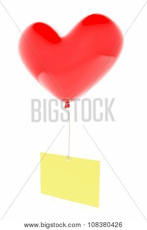 Heart shaped balloon with memo