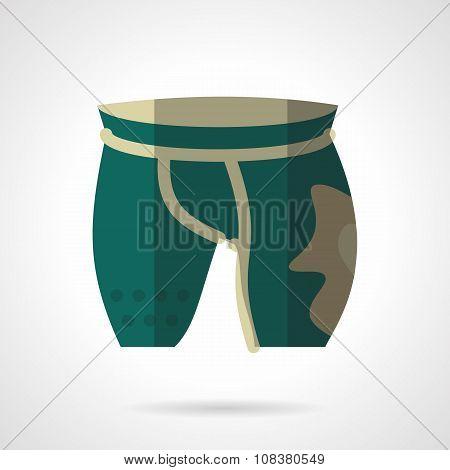 Green cycling shorts flat color vector icon