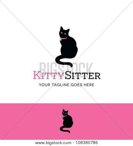 Sitting cat logo for pet sitting or pet care business