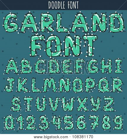Font garland. New Year and Christmas Alphabet decorated with garland