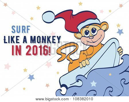 Vector Surfing Holidays New Year Monkey Greeting Card Design. Happy 2016. Celebration. Surf board. C