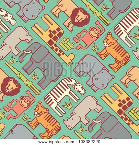 seamless pattern of cute stylized jungle animals